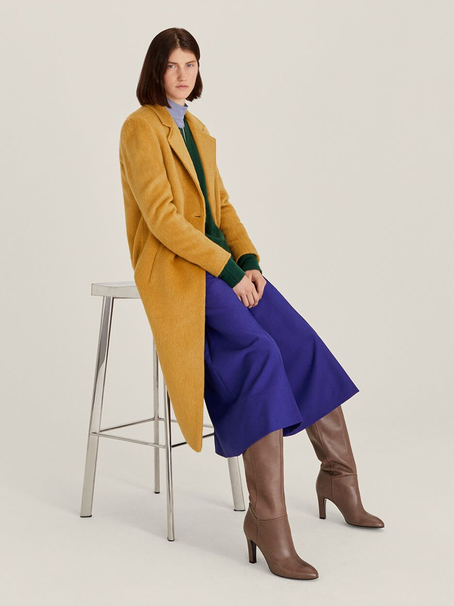 John Lewis & Partners amber gold single breasted coat
