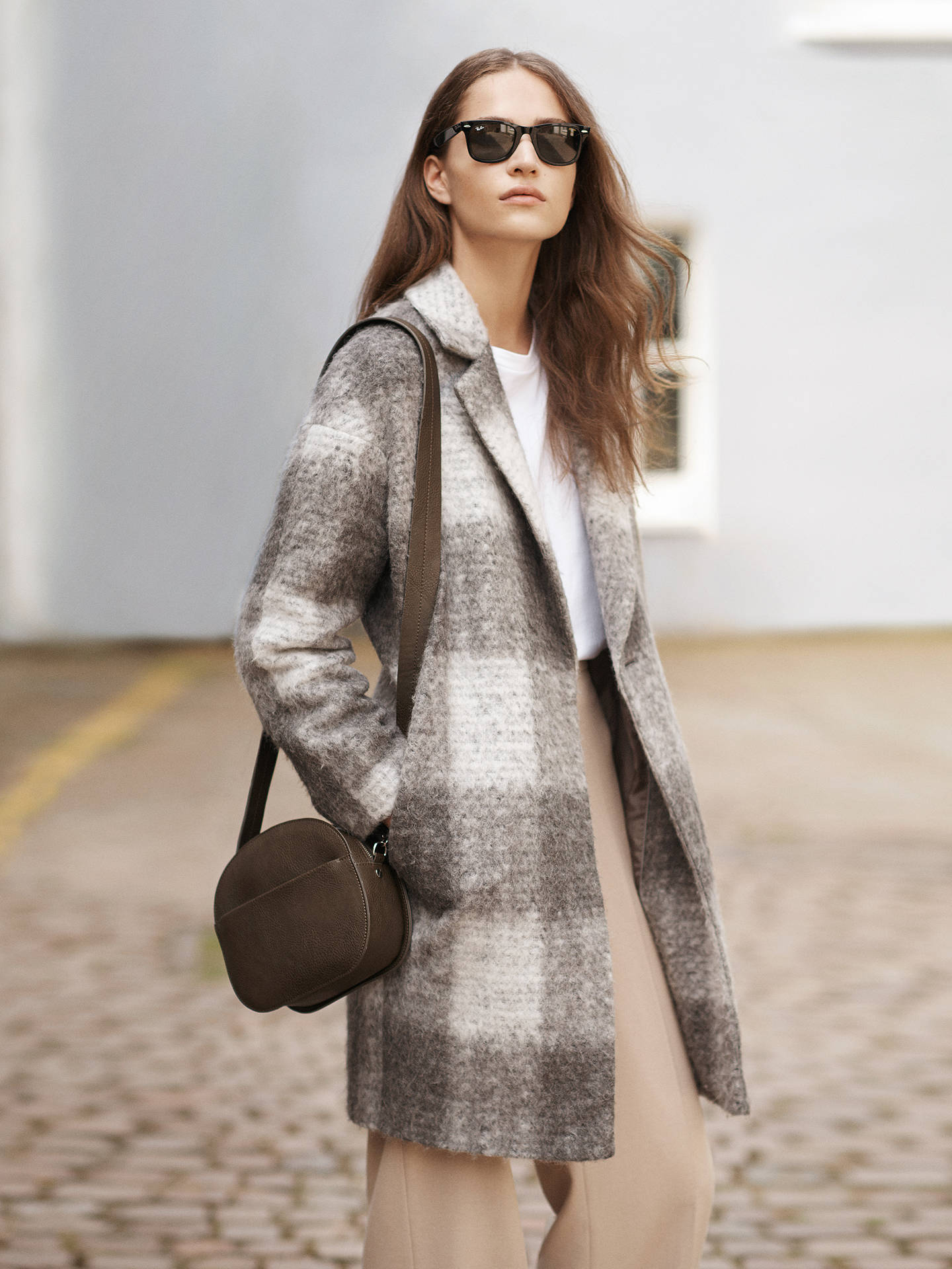 Buy John Lewis Check Cocoon Coat, Grey, 8 Online at johnlewis.com