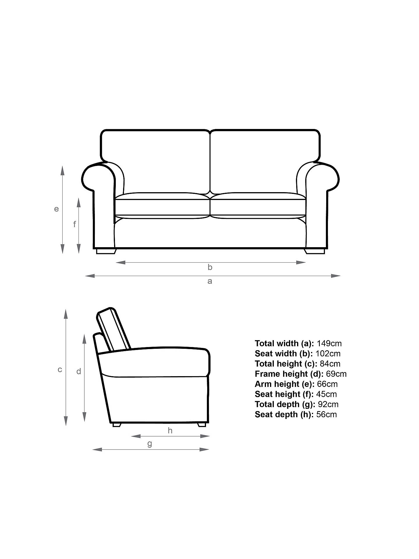 John Lewis Milford Small 2 Seater Sofa Light Leg Solva Blueprint