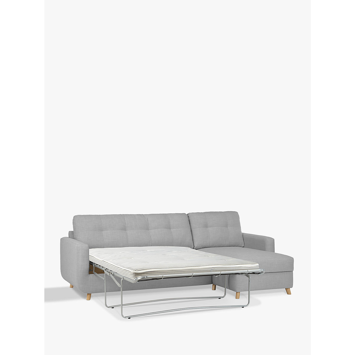 ... Buy John Lewis Barbican RHF Chaise Sofa Bed With Storage, Pocket Sprung  Mattress, Light ...