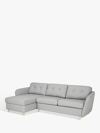 House by John Lewis Arlo LHF Chaise with Storage Sofa Bed, Light Leg