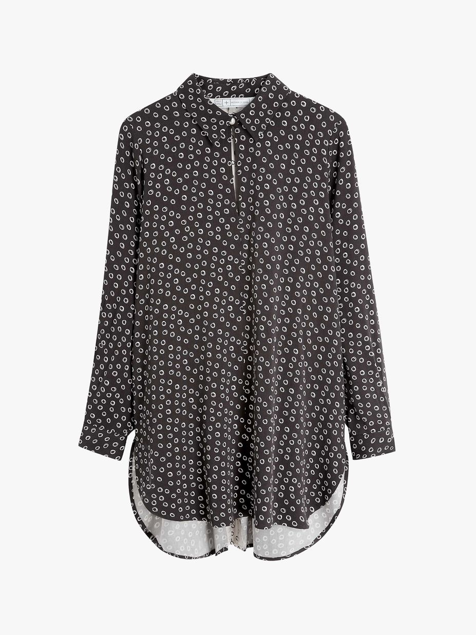 Mother of Pearl ECOVERO™ Spot Oversized Shirt, Charcoal
