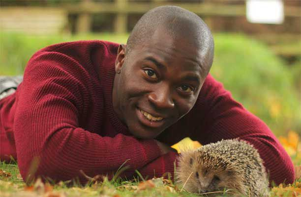 Man with hedgehog