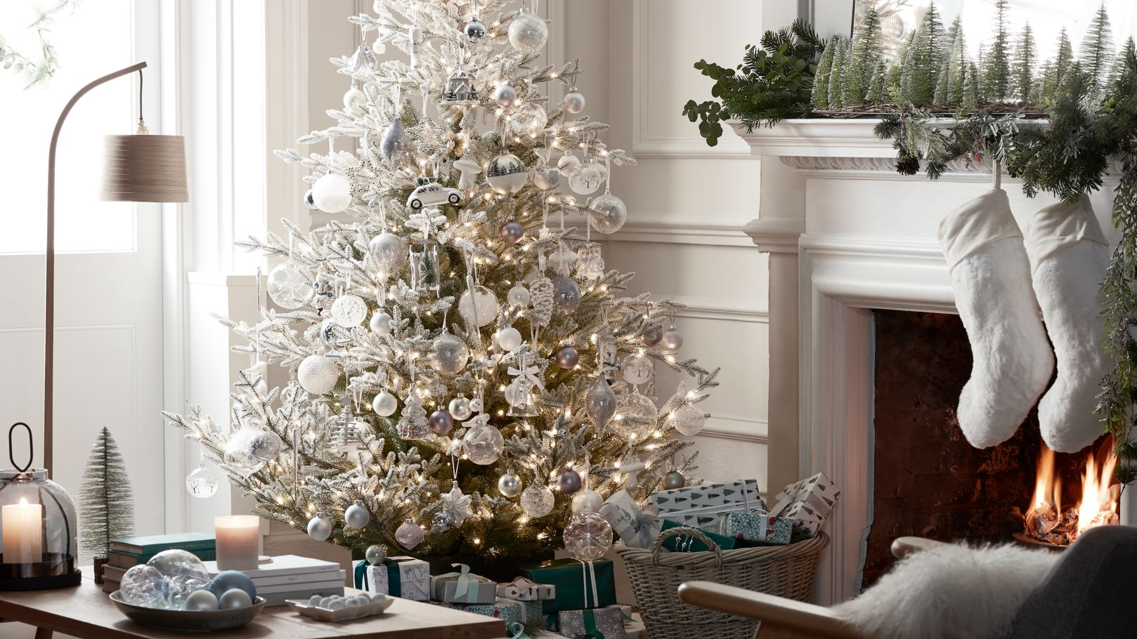 Beautiful Christmas tree decorated with colourful, impressionism inspired baubles and ornaments