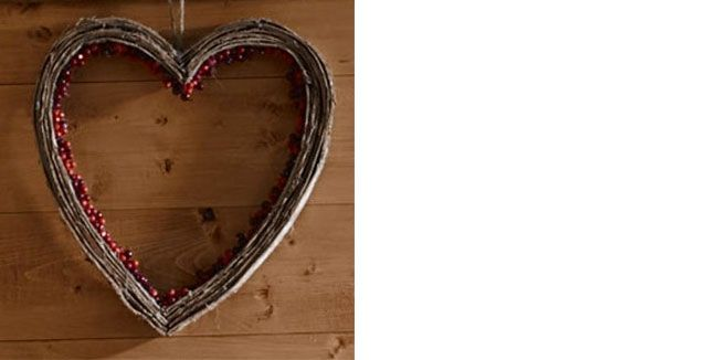 John Lewis Chamonix Red Berry & Bark Heart Wreath