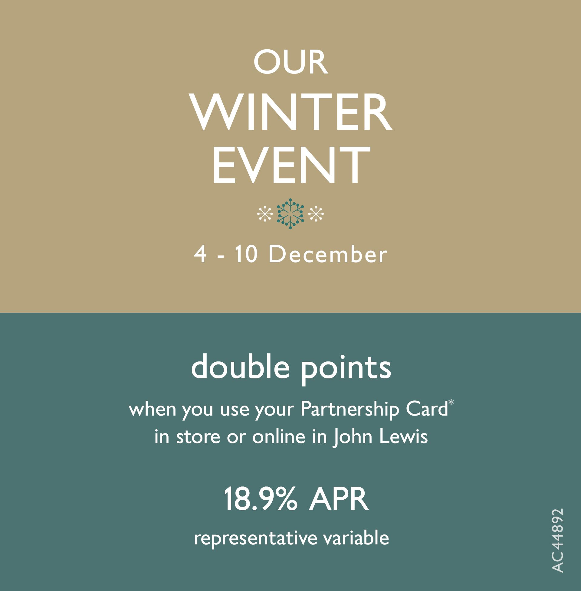 Our Winter Events Double Points