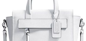 Coach Bleecker Mini Riley Leather Grab Handbag, White