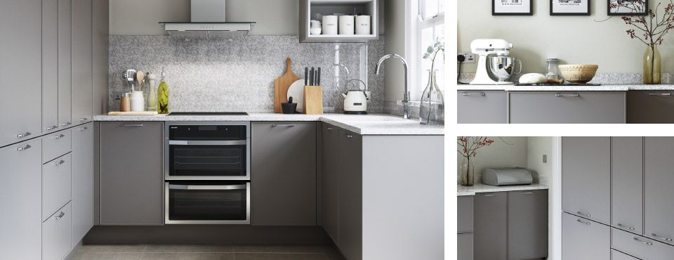 Cool grey tones  traditional textures and simple detailing create a kitchen  that suits any size space. John Lewis Fitted Kitchen Service