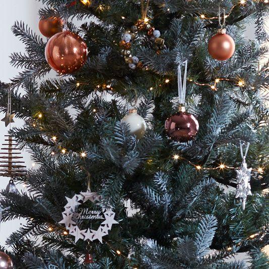 John Lewis 7ft Silver Forest Spruce Christmas Tree £225.00. John Lewis  Helsinki Pearlised Bauble, Coffee, £2.00. John Lewis Helsinki Star Burst  Bauble, ...
