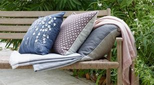 Bench covered with blankets