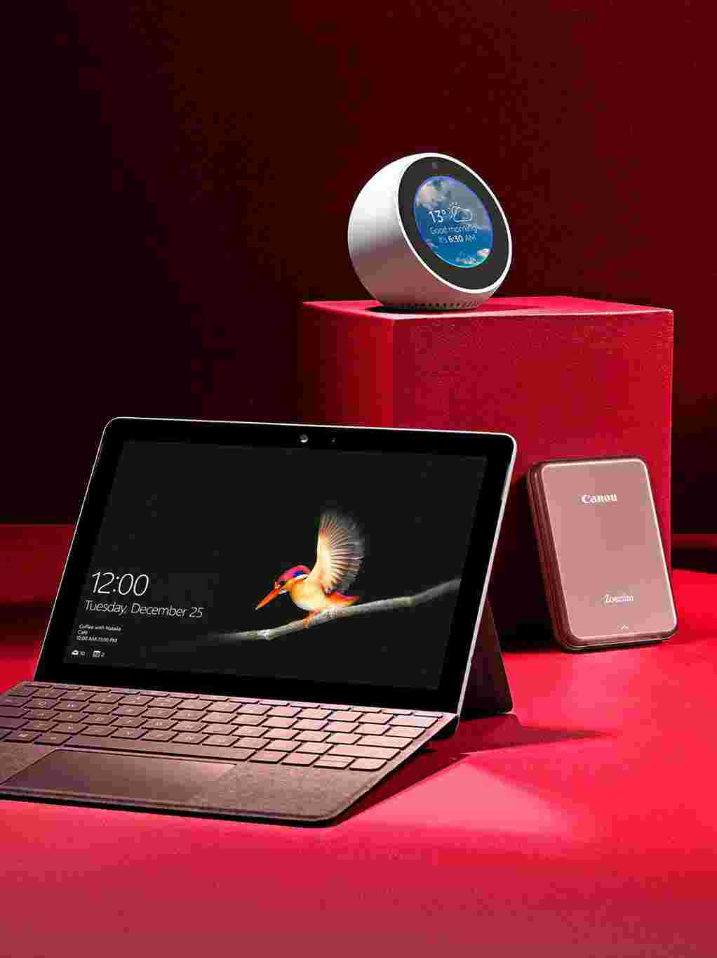 Selection of tech-based gifts; including smart home speakers and laptop computers