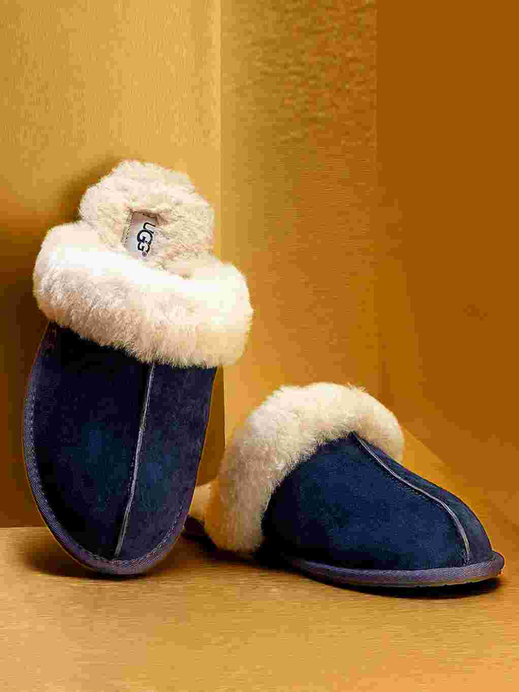 Blue UGG fleece-lined slippers