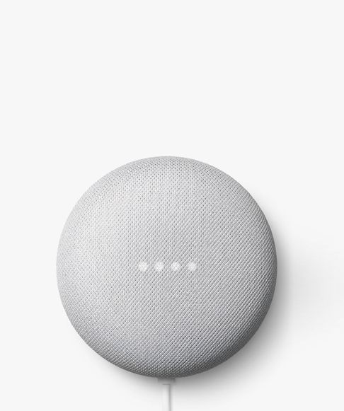 Google nest mini on a grey background