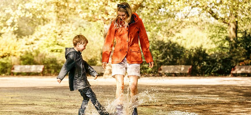 Woman and child splashing in puddles