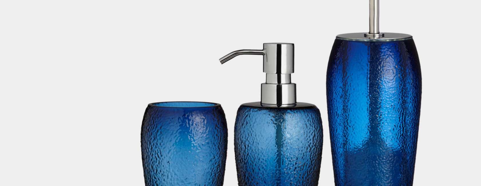 John Lewis & Partners Glass Dark Nordic Blue, Bathroom Accessories
