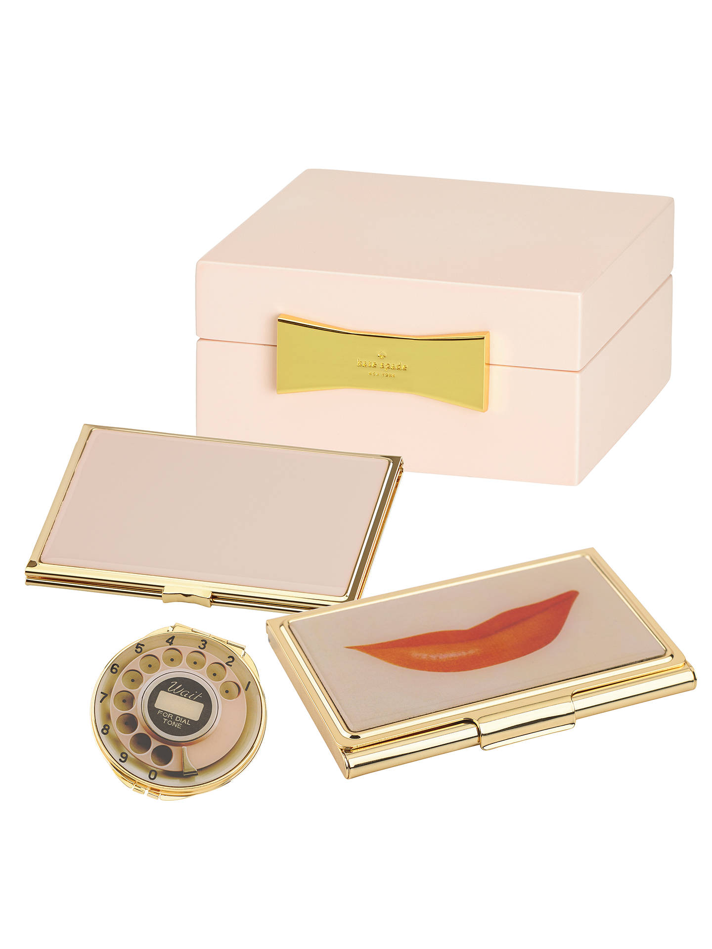 buykate spade new york lips business card holder gold pink online at johnlewis - Kate Spade Business Card Holder