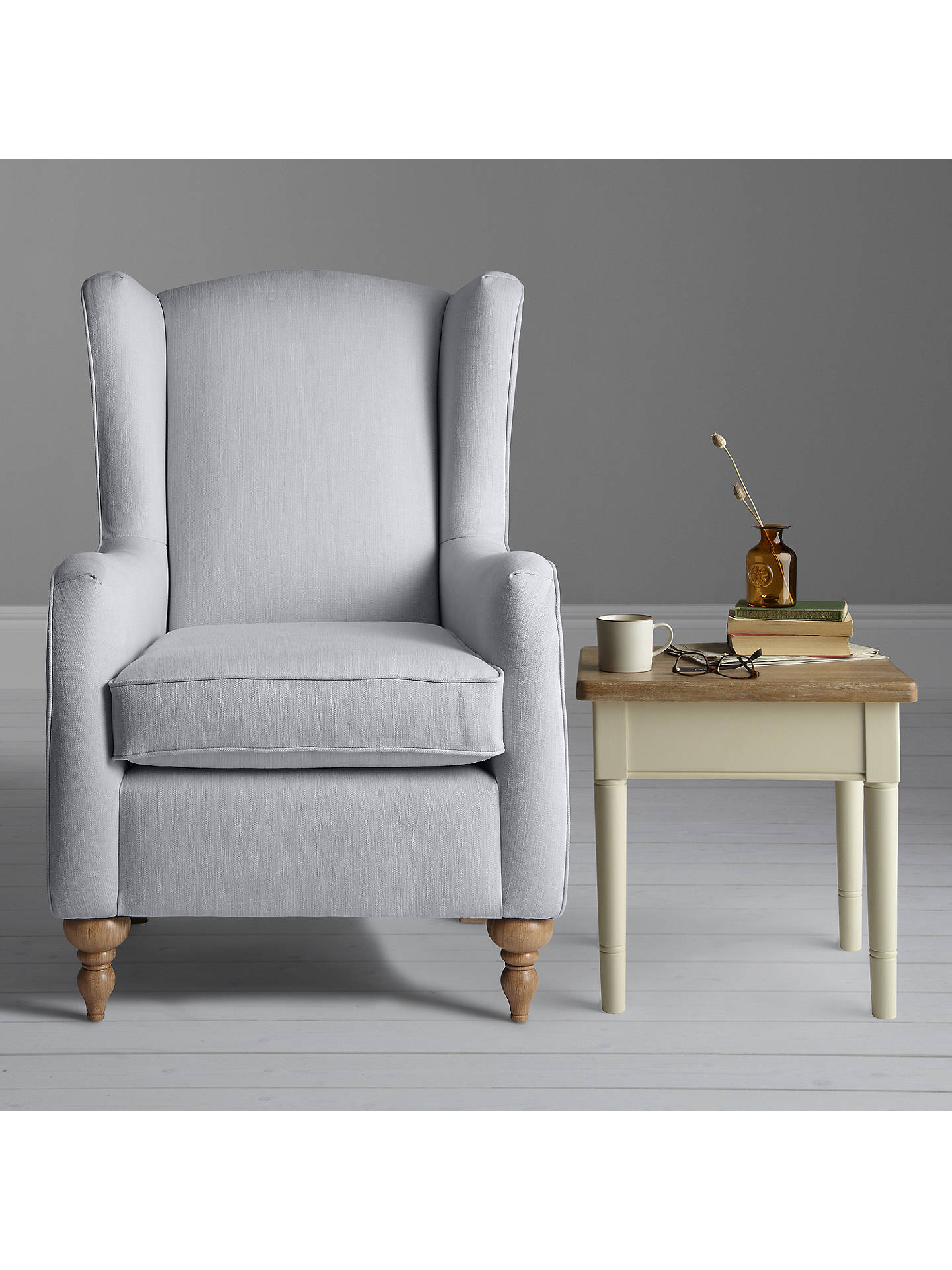 John Lewis Partners Devon Wing Armchair Oakley Check Putty At