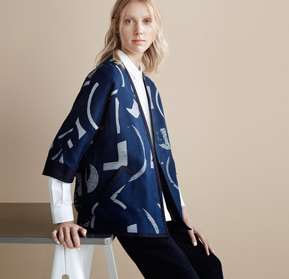 Kin by John Lewis Laura Slater Limited Edition Geometric Linear Jacket, Blue