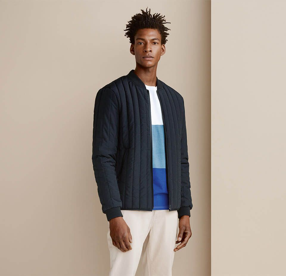 Padded Jacket, Block Colour T-Shirt and Cotton Chinos