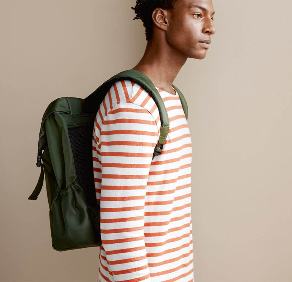 Breton Stripe Long Sleeve T-Shirt and Backpack