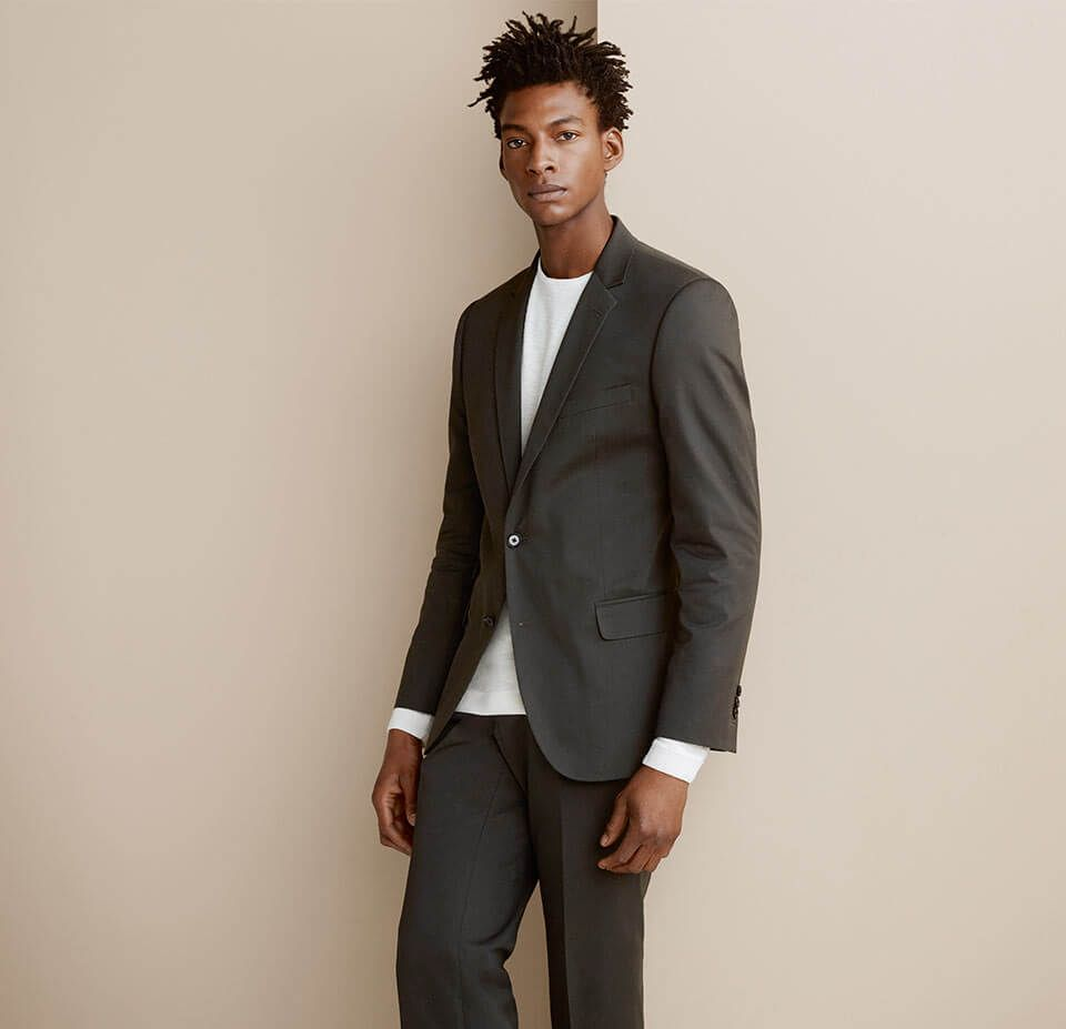 Collet Slim Fit Suit Jacket and Trousers and Jason Nubuck Derby Shoes