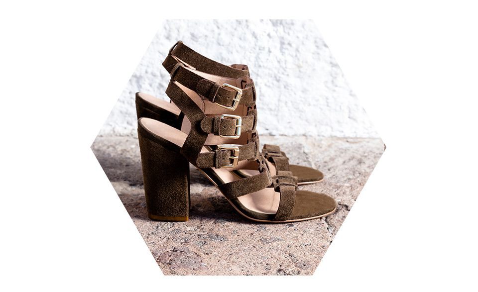 AND/OR Iris Buckle Strap Block Heeled Sandals