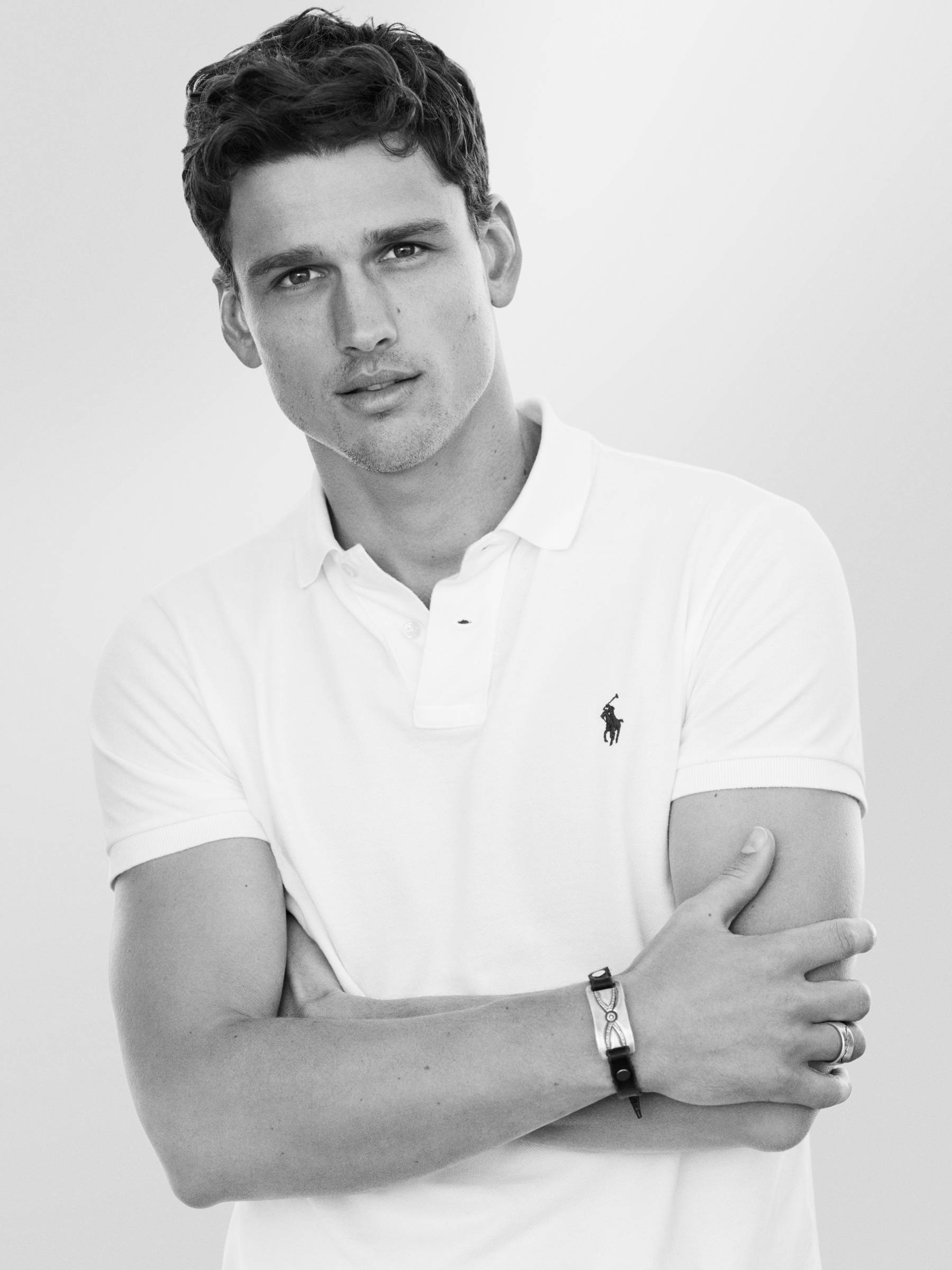 Polo Ralph Lauren male model in white polo