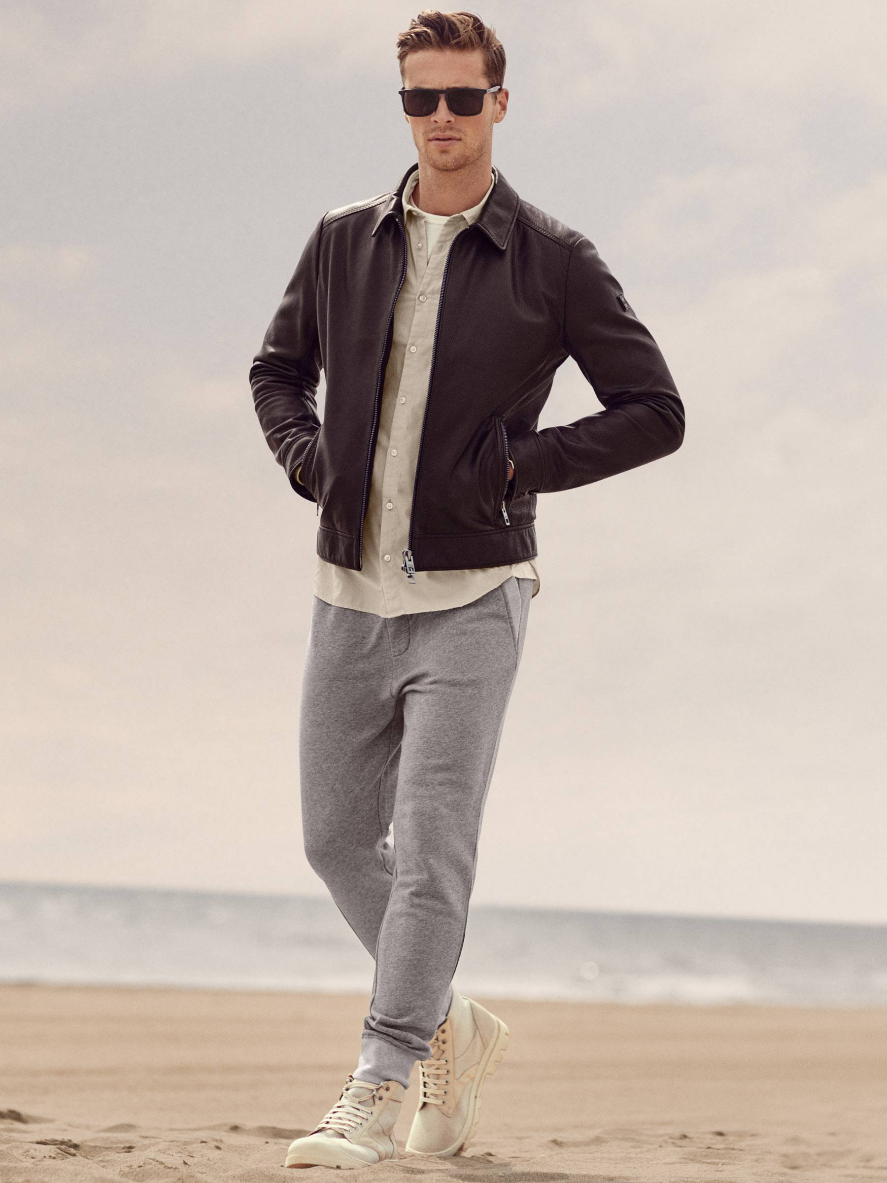 Boss male model in leather jacket and grey jeans