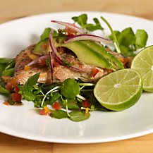 Steamed Salmon with Avocado Salsa