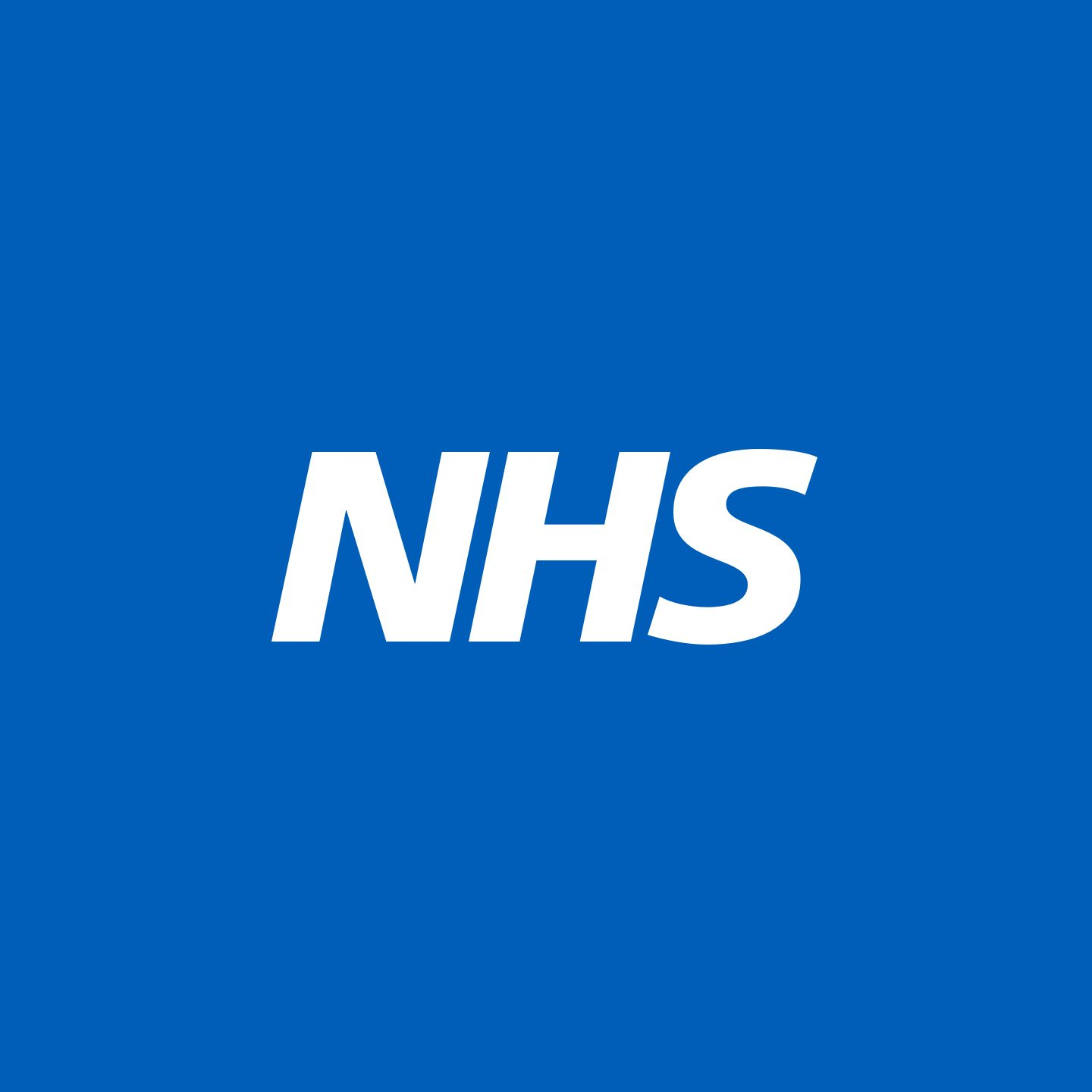 NHS logo on Blue Background