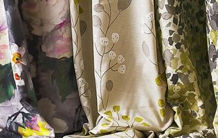 Selection of patterned fabrics available for custom-made curtains