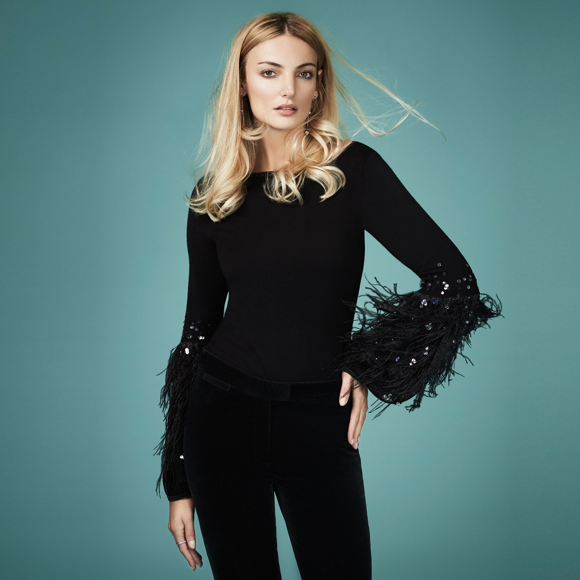 Coast Squires Feather Knit Top, Black £89