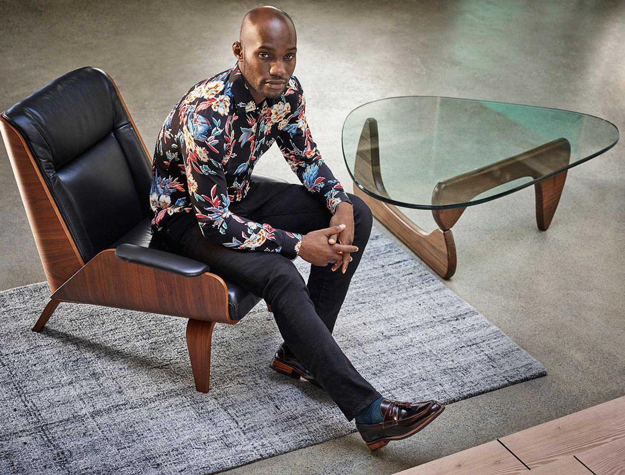 Male model in a floral shirt