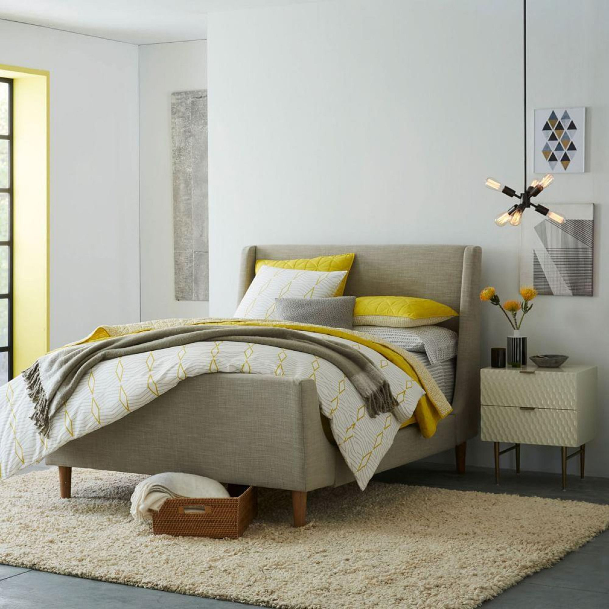 West Elm Upholstered Sleigh Bed King Size At John Lewis Partners