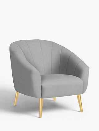 John Lewis & Partners Wave Fluted Armchair, Gold Finish Leg