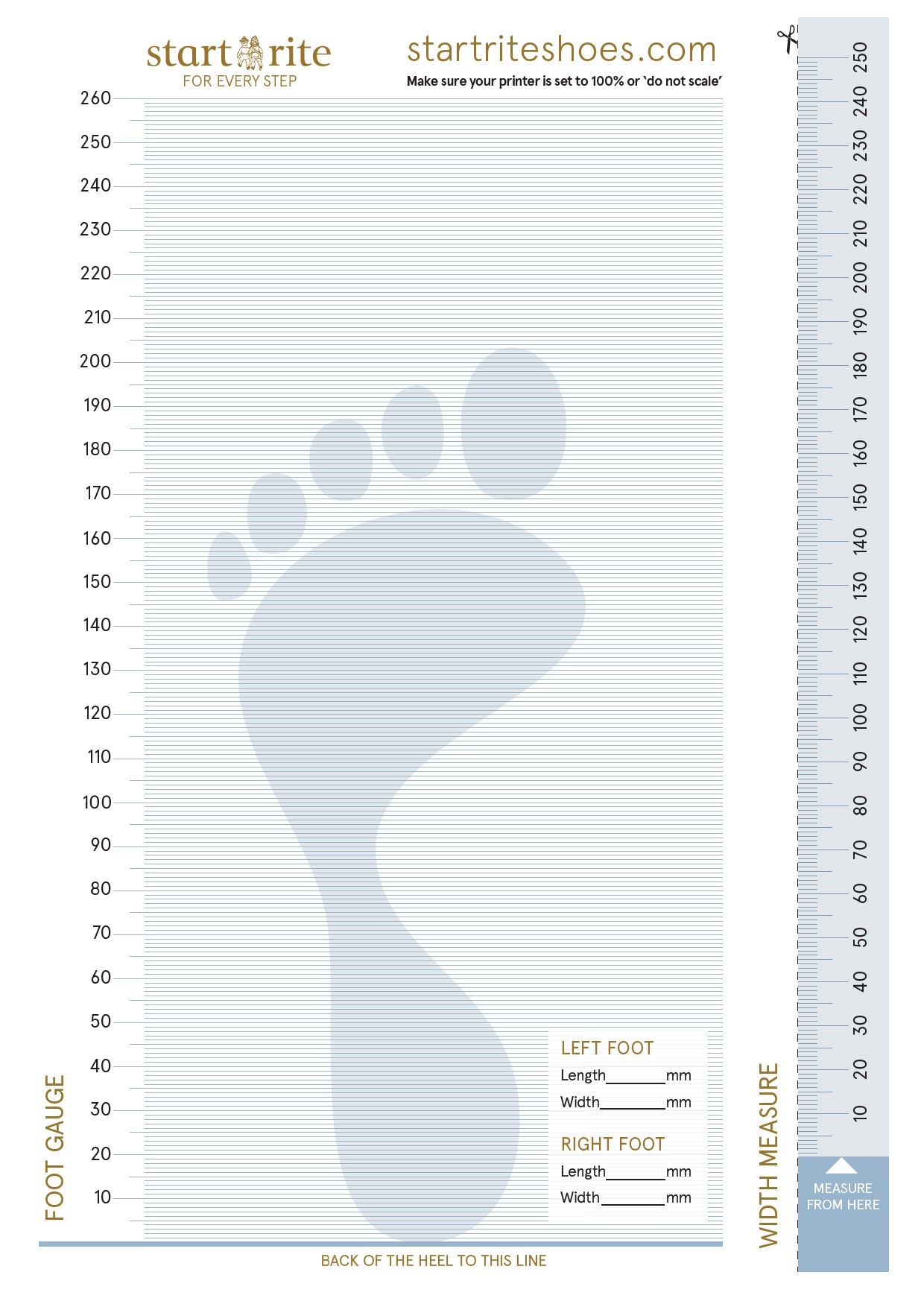 Start-rite paper foot measuring gauge
