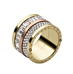Michael Kors Pave Barrel Two Tone Mixed Ring, Yellow / Rose Gold