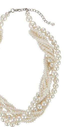 John Lewis Twist Faux Pearl Chunky Statement Necklace, Silver