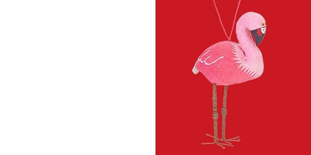 John Lewis Ground Tour Flamingo Hanging Tree Decoration, Pink
