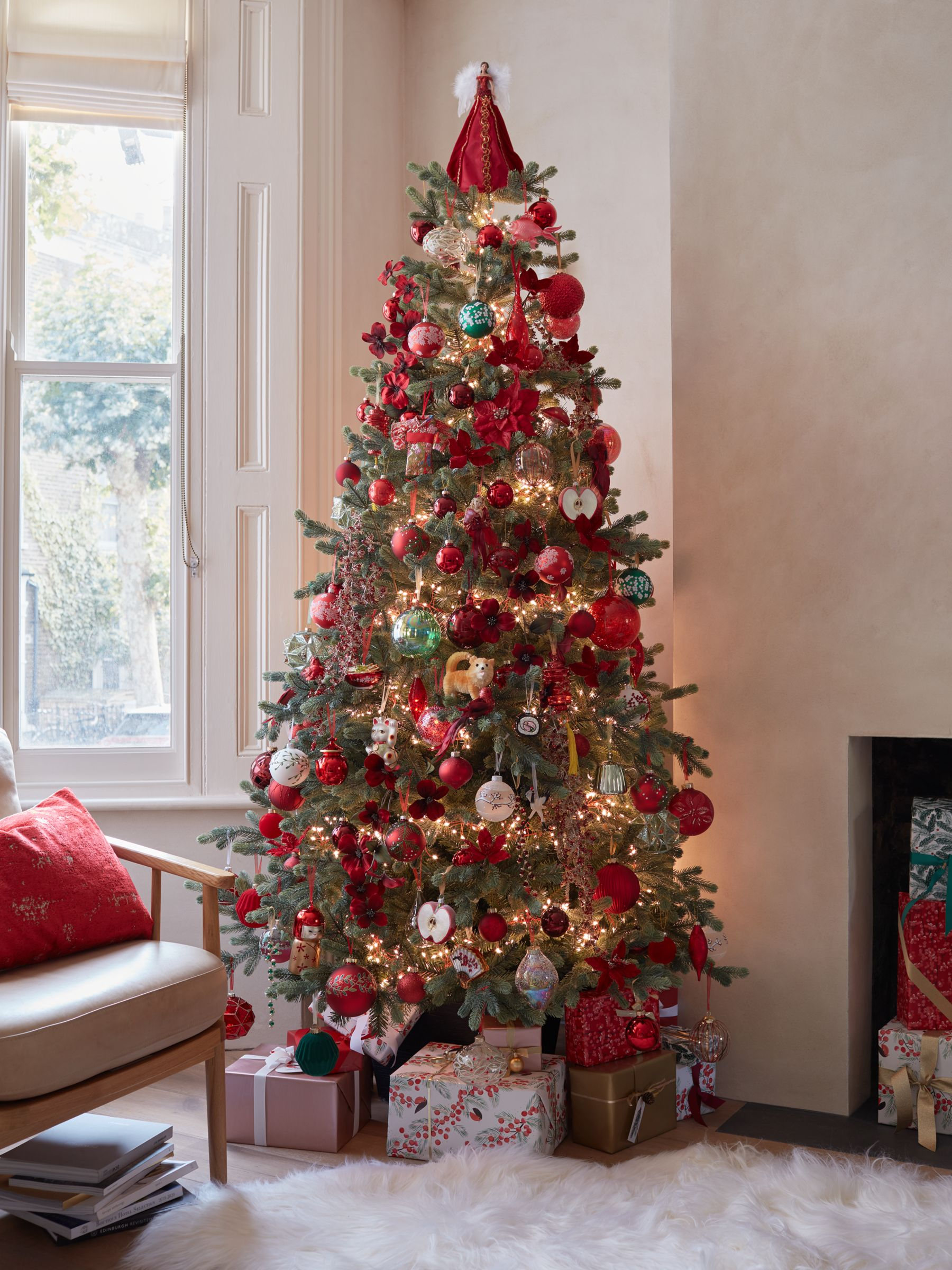 Beautiful Christmas tree decorated with colourful, Japanese-inspired baubles and ornaments