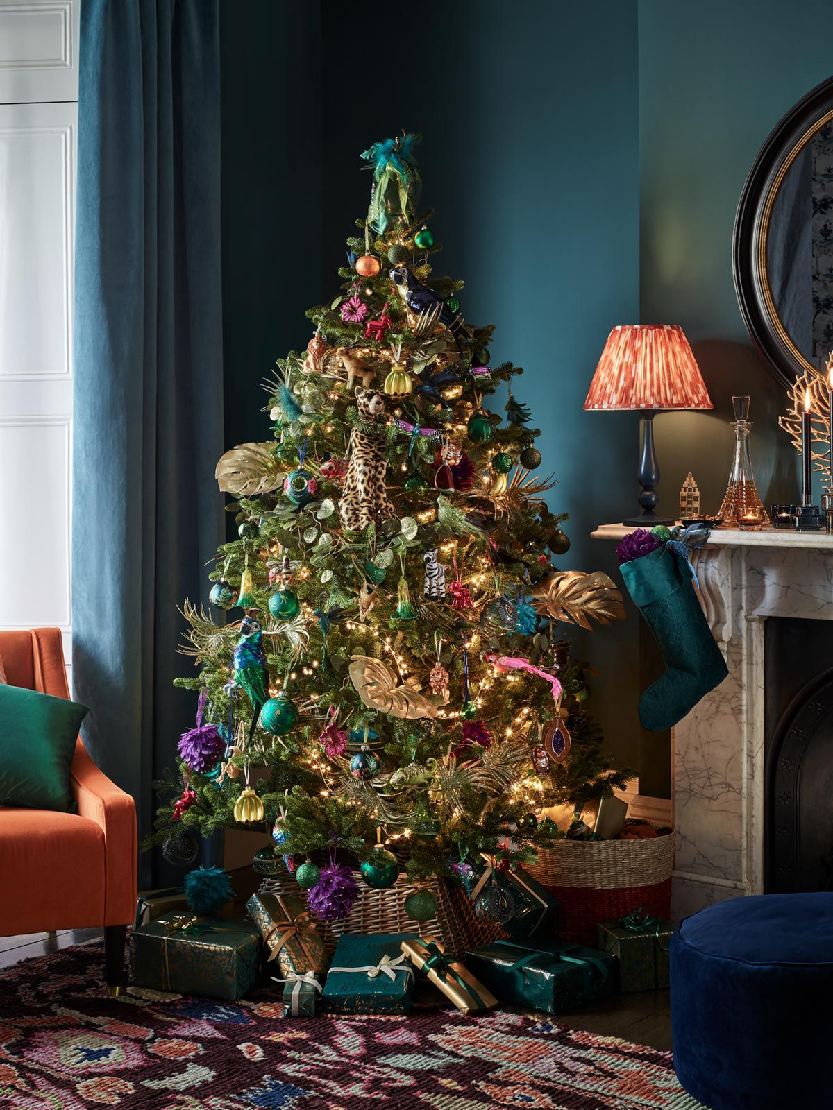 Beautiful Christmas tree decorated with colourful, Post-Impressionism inspired baubles and ornaments