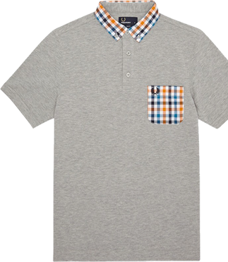 Fred Perry Gingham Polo Shirt, Grey Marl