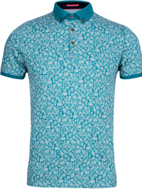 Ted Baker Spyda Print Polo Shirt, Turquoise