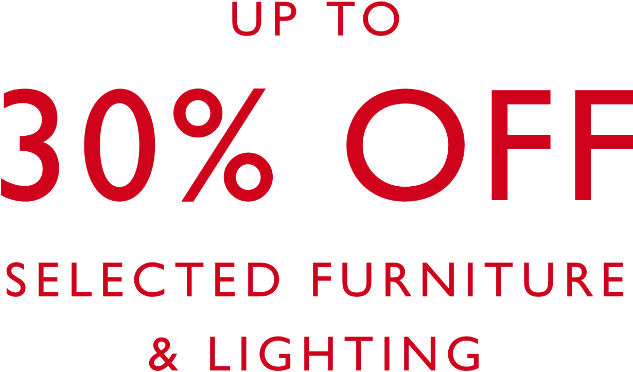 30 percent off selected furniture lighting