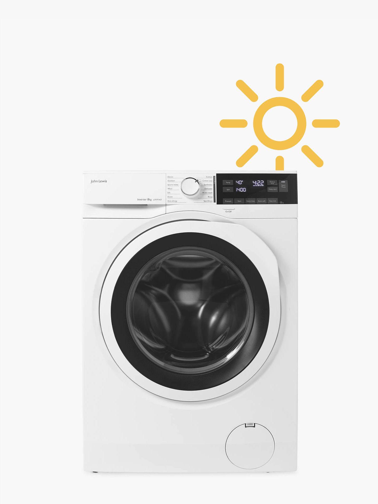 John Lewis & Partners washing machine with sun icon