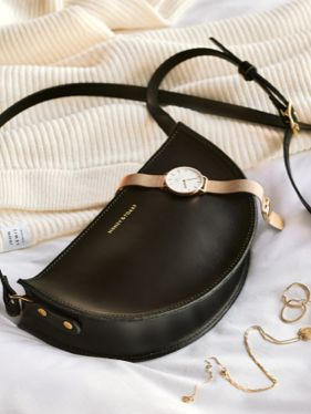 Handbag with watch and necklace