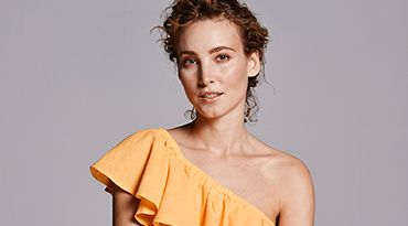 Warehouse Ruffle Yellow Top