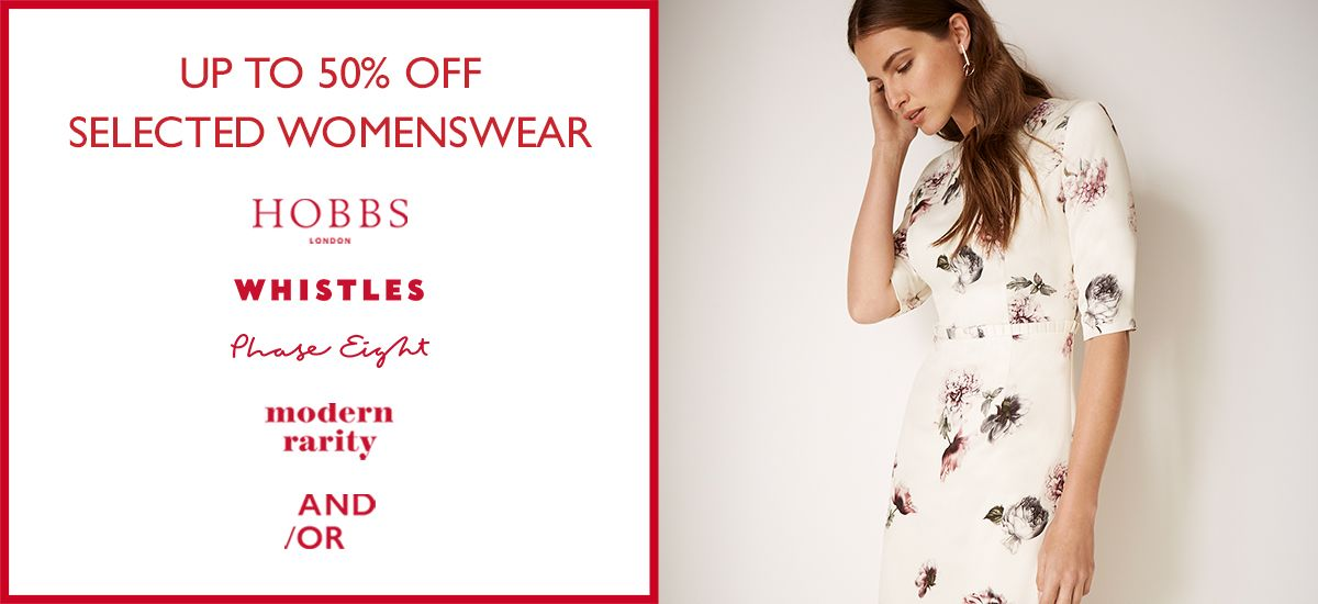up to 50% off selected womenswear