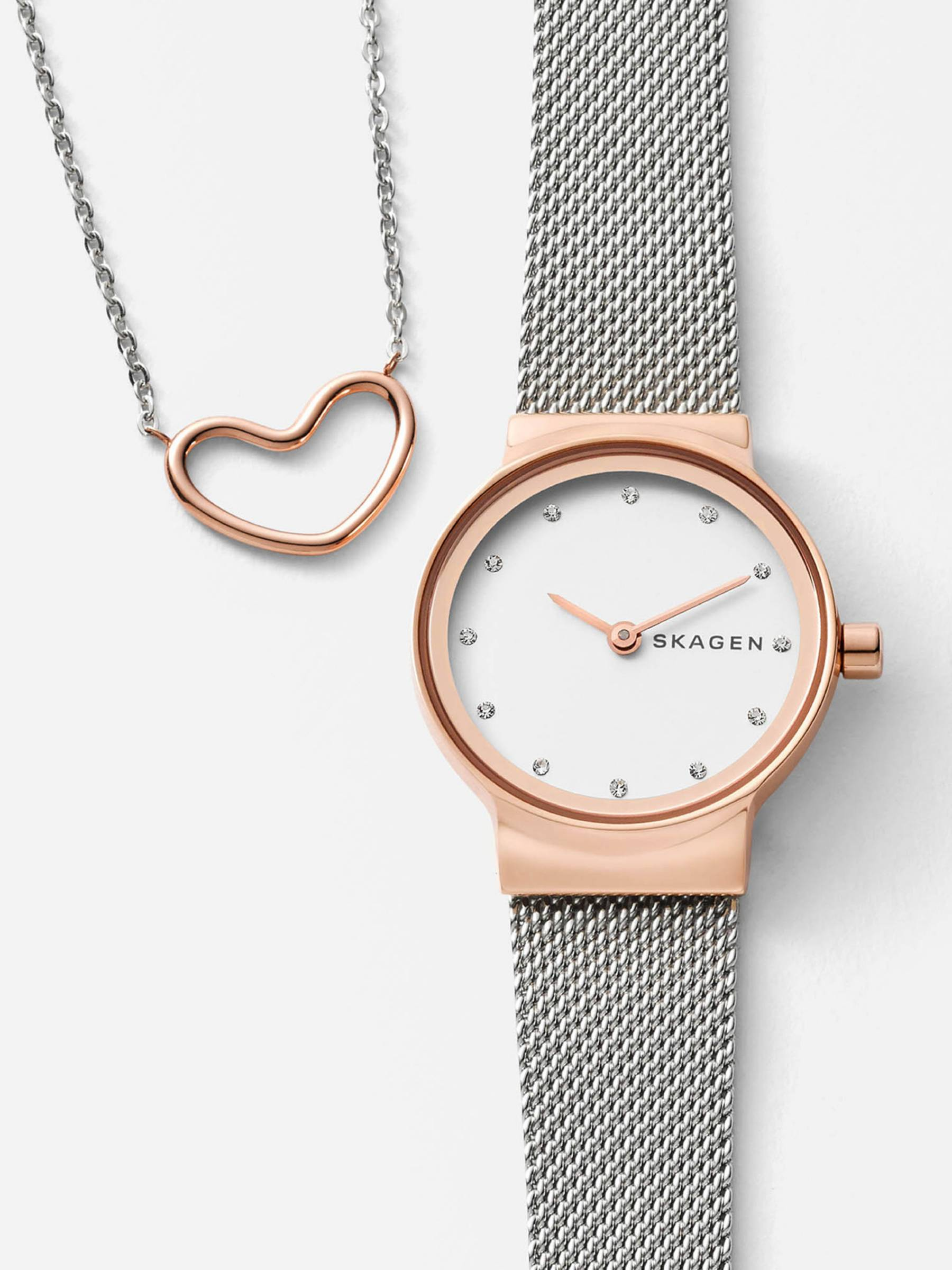 Skagen watch and heart necklace