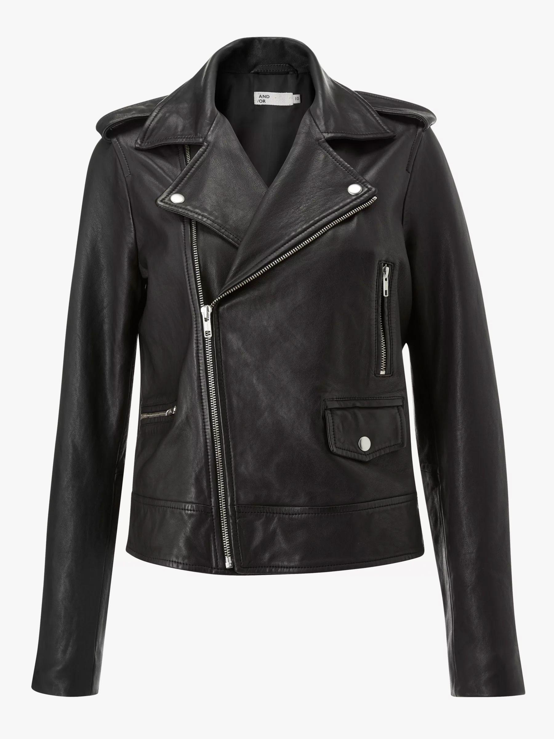 AND/OR Leather Biker Jacket, Black